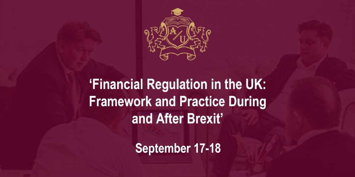 A 2-day author course by Dr Rui Verde 'Financial Regulation in the UK: Framework and Practice During