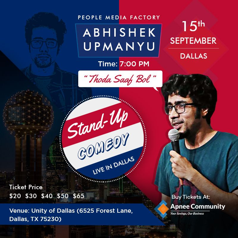 Abhishek Upmanyu Stand-Up Comedy Show Live in Dallas