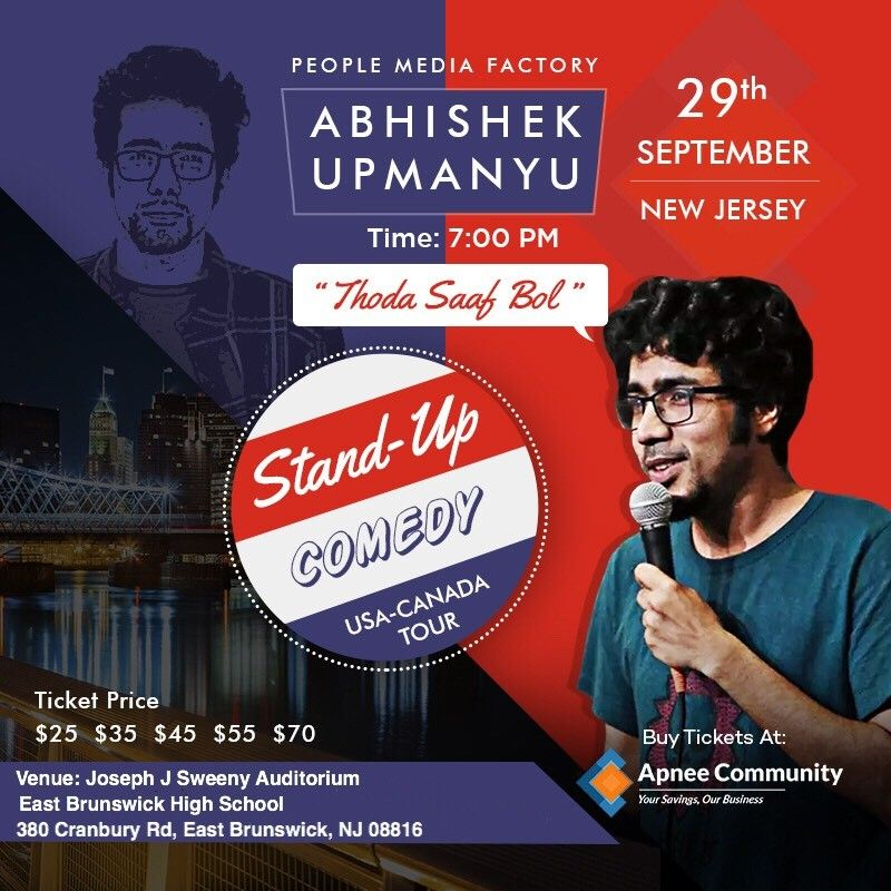 Abhishek Upmanyu Stand-Up Comedy Live in New Jersey