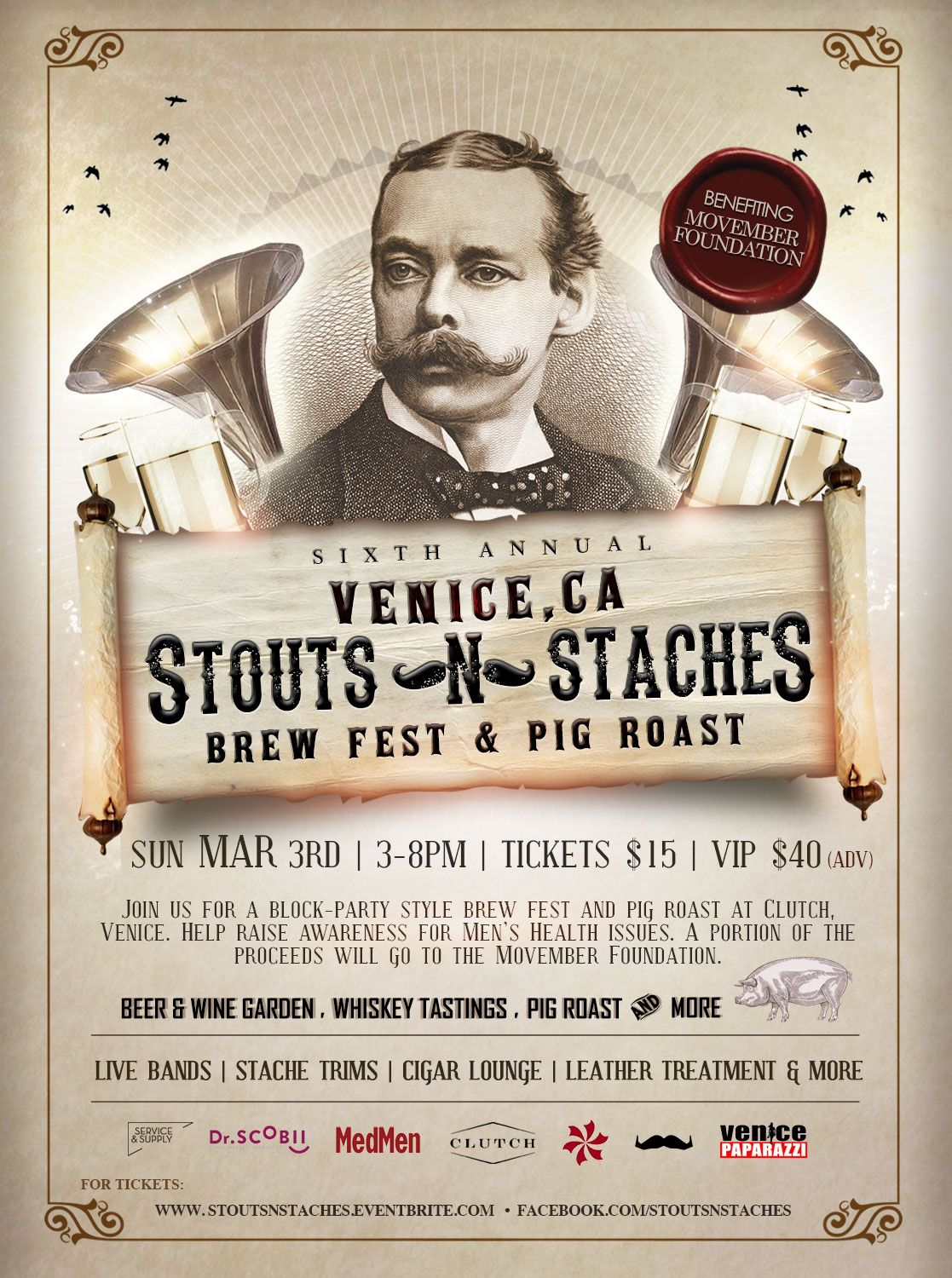 6th Annual Stouts n Staches Brew Fest & Pig Roast