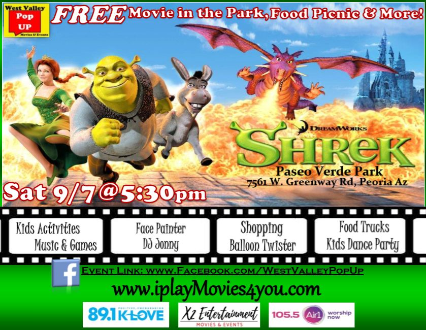 A Peoria FREE Movie Night, Food Truck Picnic & MORE! Sat 9/7pm (Shrek!)