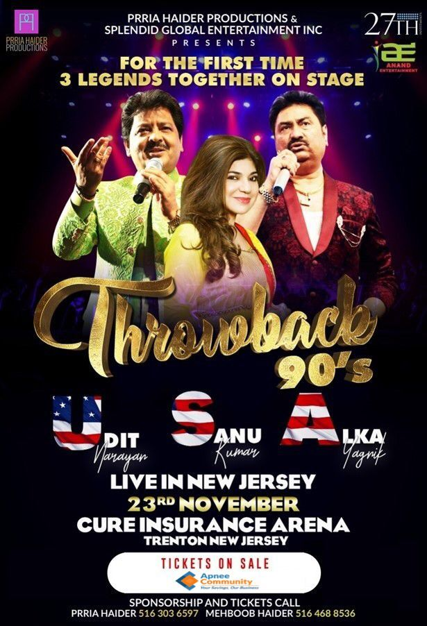 Throwback 90's With Udit Narayan, Alka Yagnik and Kumar Sanu Live In NJ