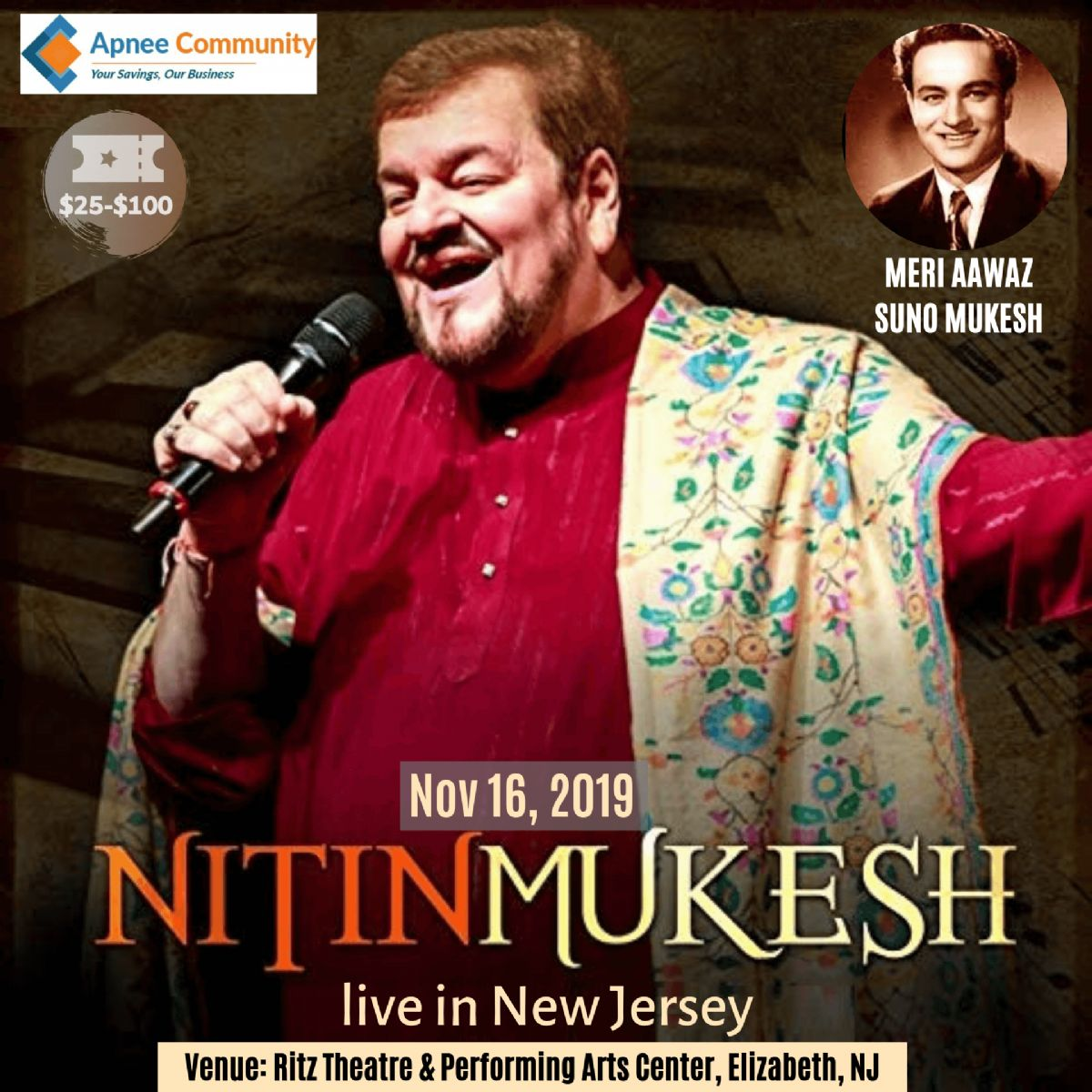 Nitin Mukesh live concert in New Jersey